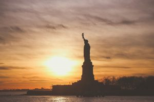 statue of liberty at sunset, close to a romantic bed and breakfast near nyc