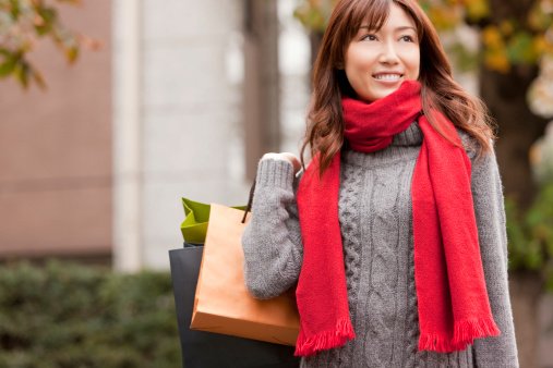 Girl with bags doing White Plains shopping