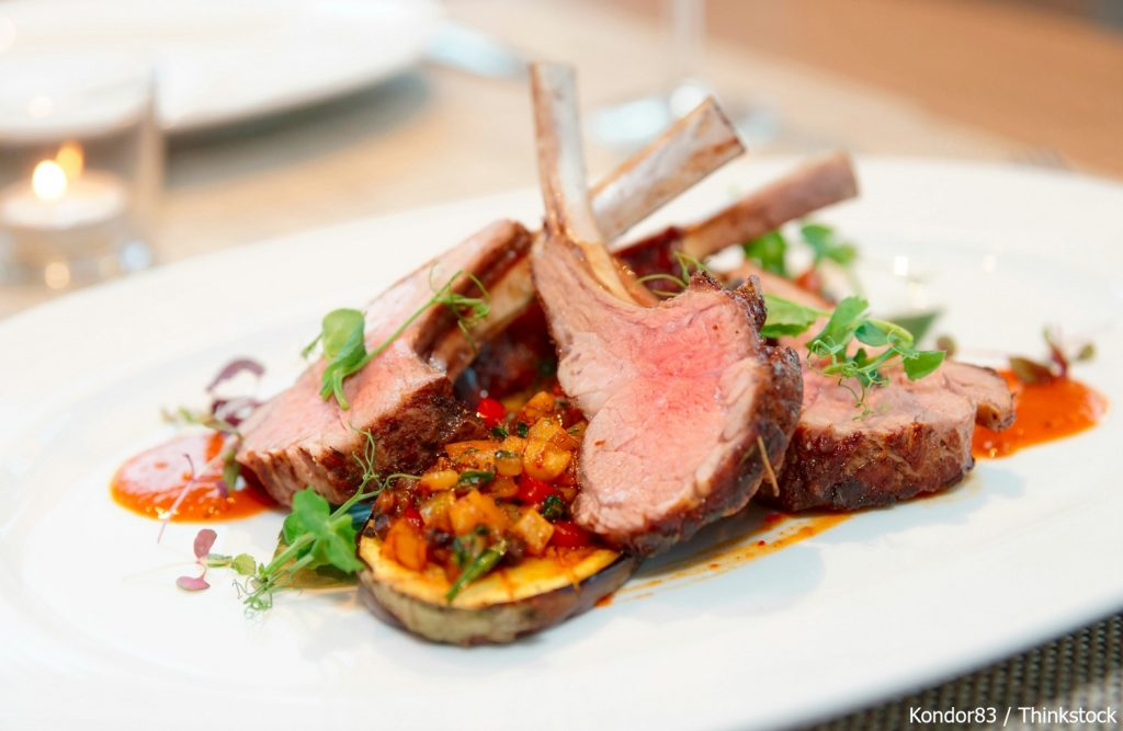 A lamb entree at one of the best restaurants in Greenwich, CT