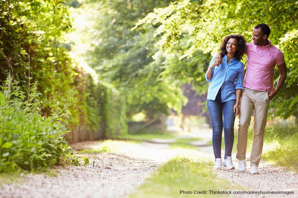 Couple walking through Rockefeller State Park Preserve