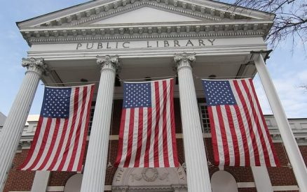 Portico of Ferguson Library in downtown Stamford, Connecticut