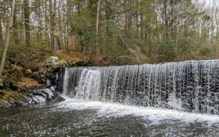 waterfall along a hiking trail in North Stamford