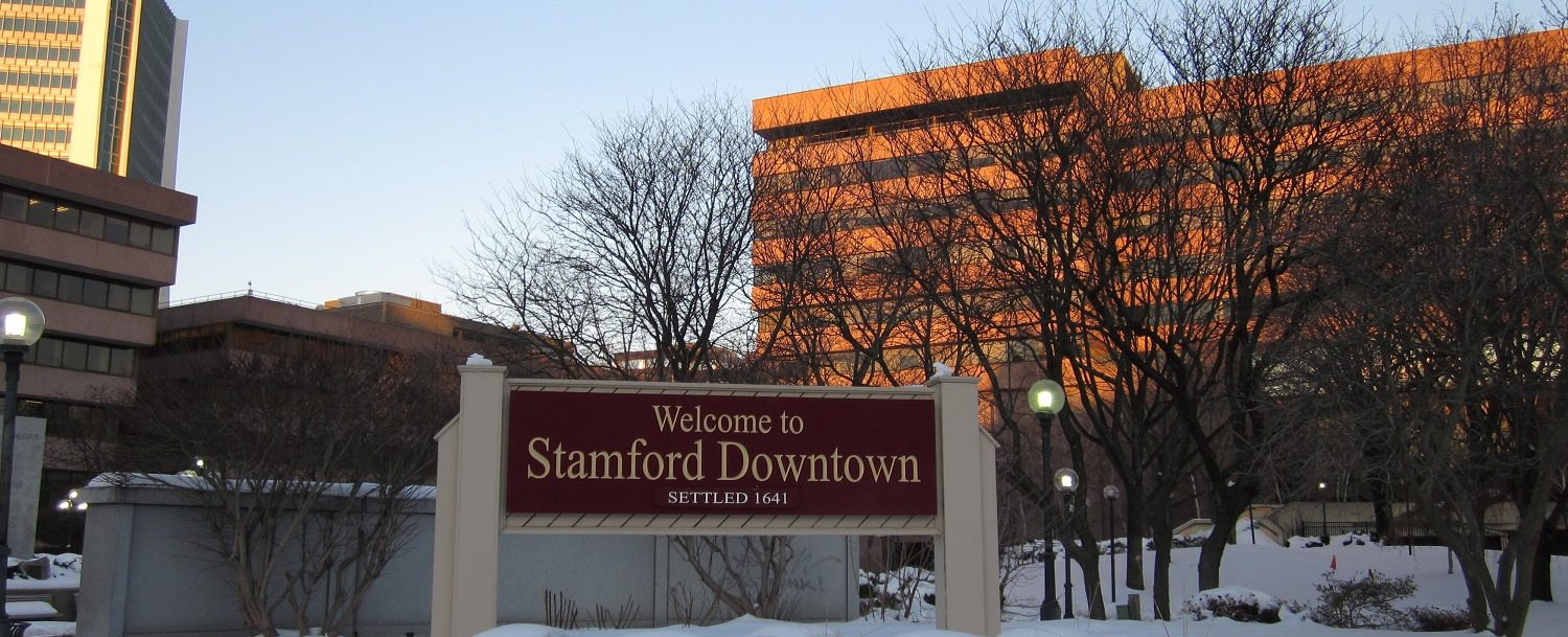 Sign in downtown Stamford, where some of the best Stamford, CT, events are held