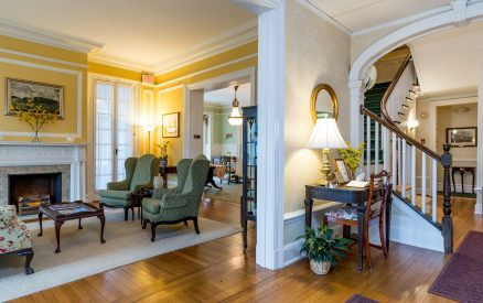 Lobby of the Stanton House Inn, a bed and breakfast inn in Greenwich, CT, include the front lobby, parlors and living rooms, and a dining room where breakfast is served each morning