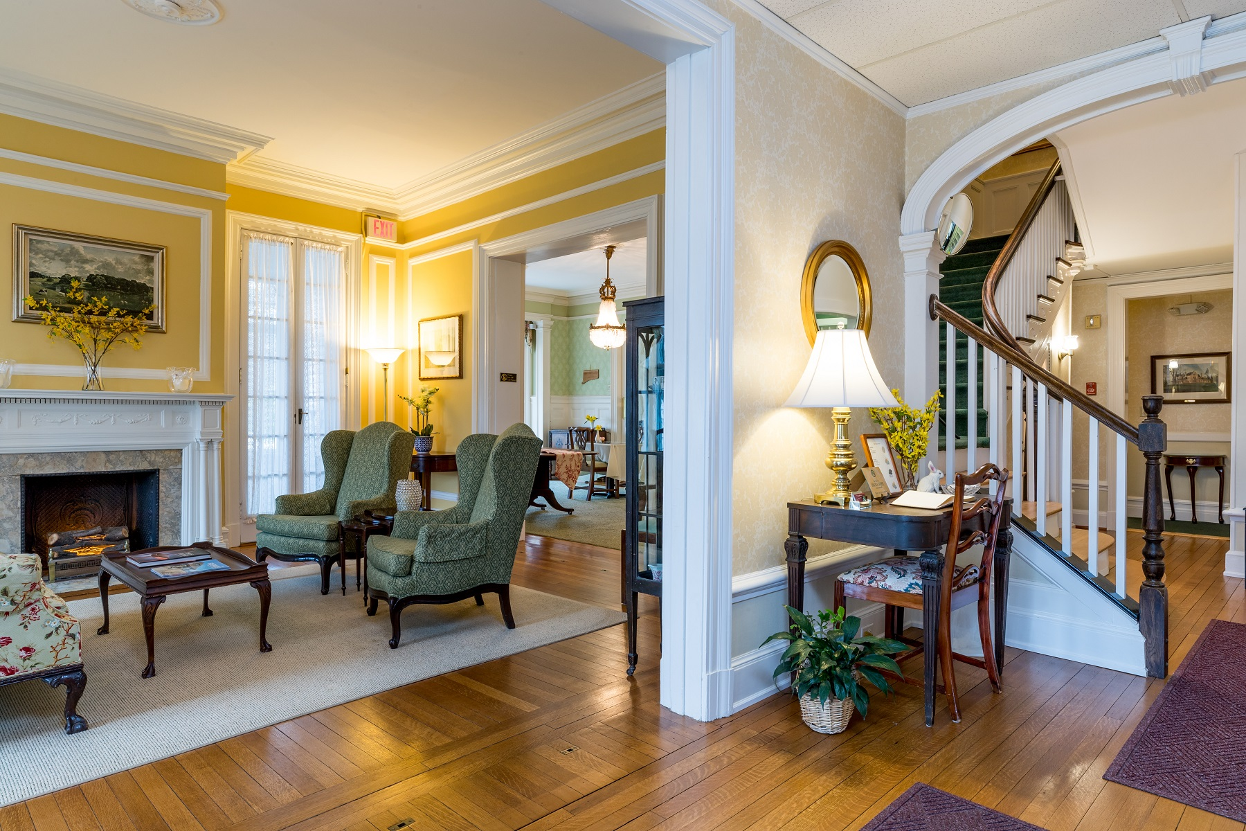Common areas of the Stanton House Inn, a bed and breakfast inn in Greenwich, CT, include the front lobby, parlors and living rooms, and a dining room where breakfast is served each morning