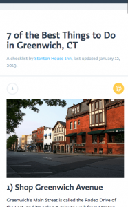 checklist of attractions, activities, and things to do in greenwich, connecticut, and nearby stamford, rye, westport, norwalk, and more