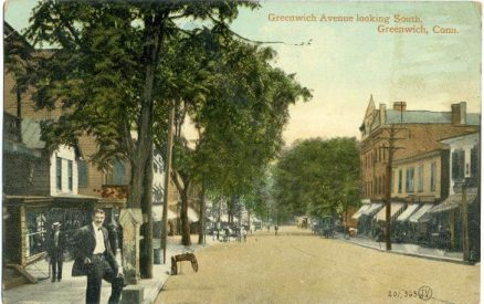 postcard from 1910 of greenwich avenue in downtown greenwich ct