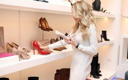 shoe shopping in a greenwich avenue store in the downtown greenwich, ct, shopping district