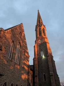 second congregational church in downtown greenwich ct at sunset