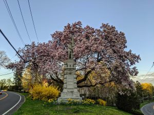 Civil War Memorial in front of Second Congregational Church in downtown Greenwich
