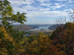 view of the hudson river from the top of bear mountain in bear mountain state park