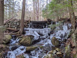 frozen waterfall in naugatuck state forest