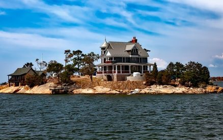 one of the Thimble Islands along the Connecticut shoreline