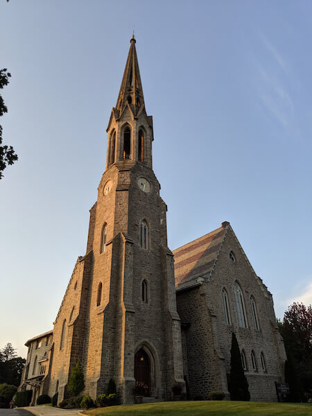 the front of second congregational church at sunset