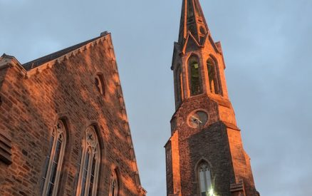 second congregational church in greenwich, ct, at sunset