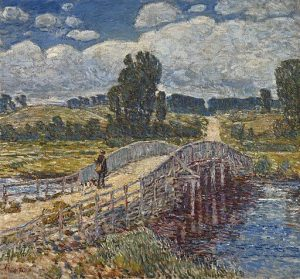 Bridge at Old Lyme, by Childe Hassam, an Impressionist painter with ties to museums in Greenwich, CT