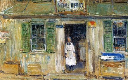 news depot, cos cob, by Childe Hassam, an Impressionist painter with ties to museums in Greenwich, CT