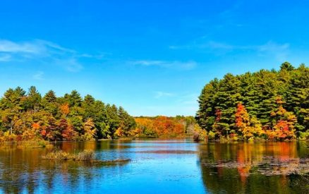 view of a fall lake in CT