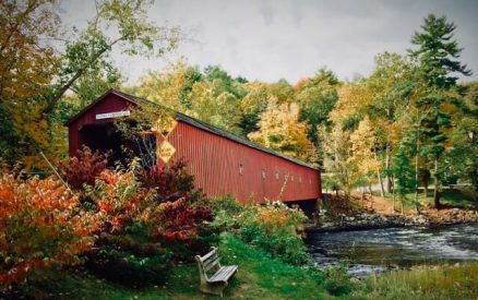 west cornwall covered bridge in the Litchfield Hills area of Connecticut