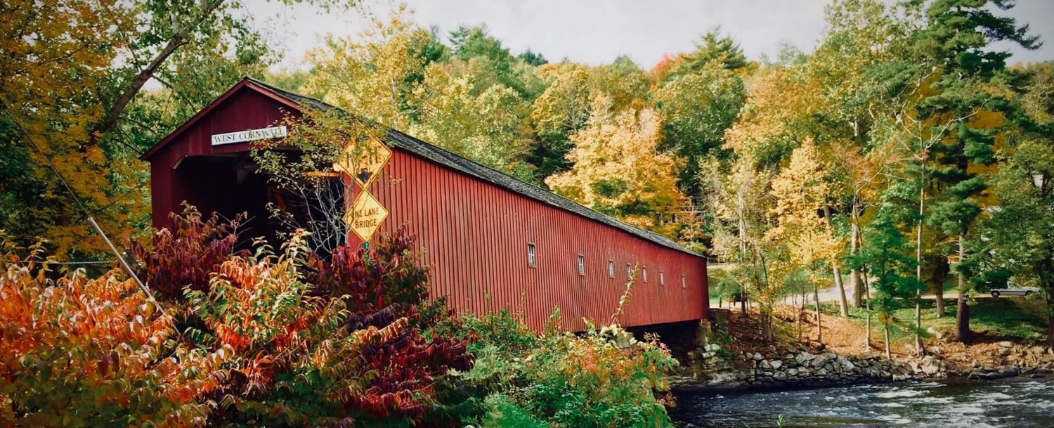 West Cornwall covered bridge during fall in CT