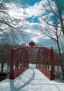 lover's leap bridge in new milford during winter in CT