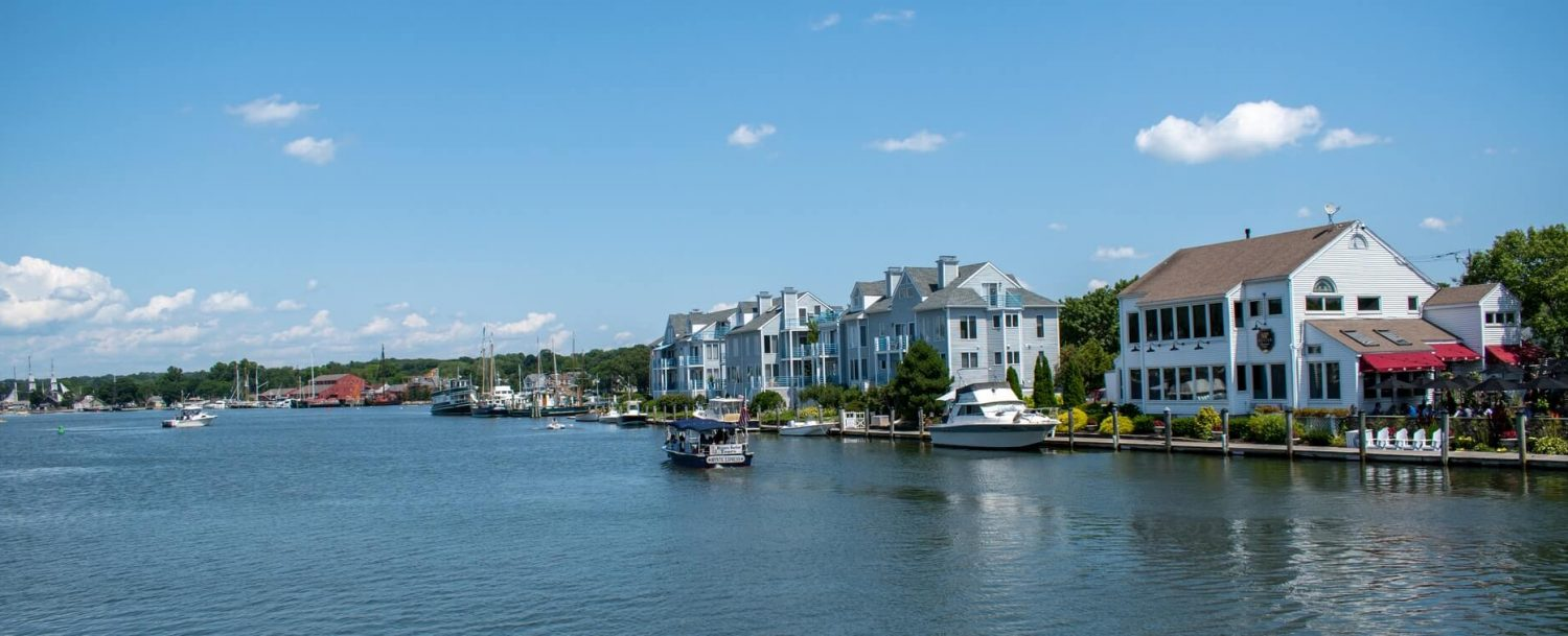 waterfront of mystic, ct, one of the most cute towns in CT