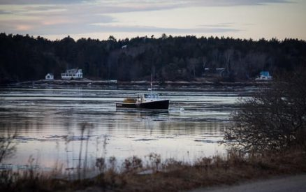 boat cruising through a winter harbor