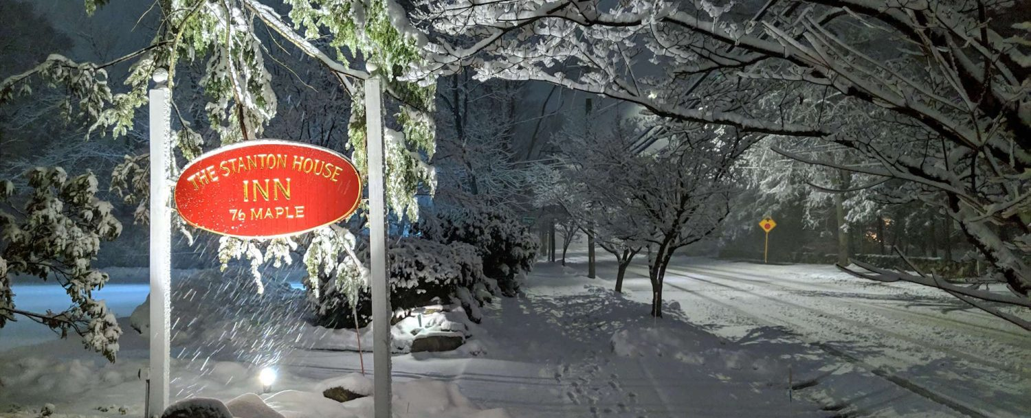 sign at stanton house inn, walking in the snow is one of the best things to do in greenwich ct in winter