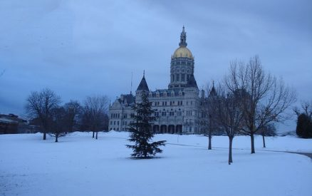 bushnell park in hartford connecticut in winter