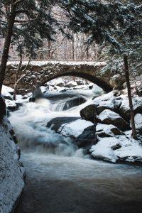 snowy bridge over a forest stream