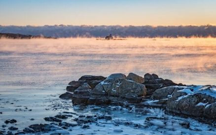 mist rising from winter water