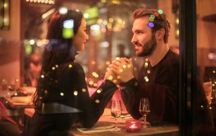 couple enjoying a romantic evening at a cute restaurant in Connecticut