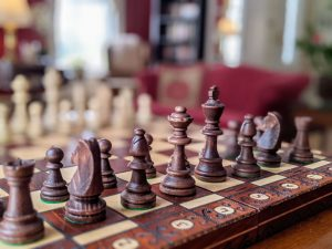 Chessboard on the game table in the library at Stanton House Inn