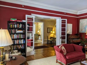 View of the library at Stanton House Inn looking towards the Front Hall and living room