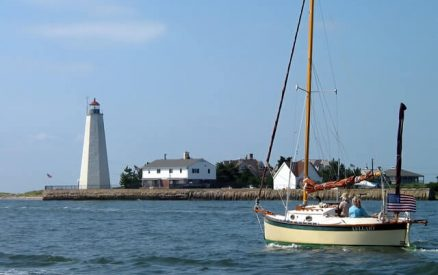 lighthouse at the mouth of the connecticut river in old saybrook, ct