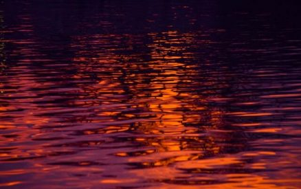 reflection of the sunset on the water at west haven, connecticut