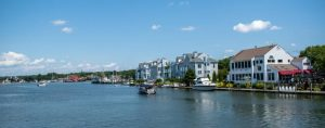 The view of Mystic River, looking towards Mystic Seaport
