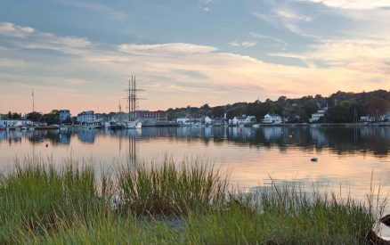 sunset over Mystic Seaport and the Charles W Morgan