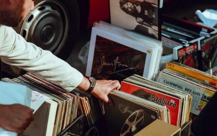 shopping through records at one of the flea markets in Connecticut