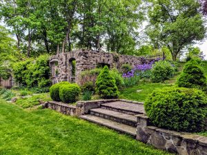 the old garden ruins in the back lot of Stanton House Inn, something you'll see our on your historic CT garden tour