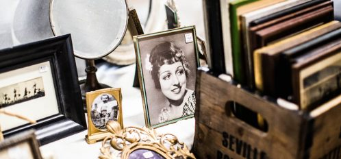 display of various small vintage items at one of the flea markets in CT