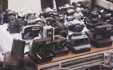 display of vintage cameras for sale