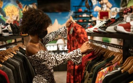 woman shopping used clothing