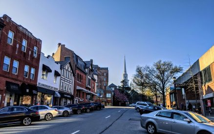 The top of Greenwich Avenue, looking towards First Presbyterian Church