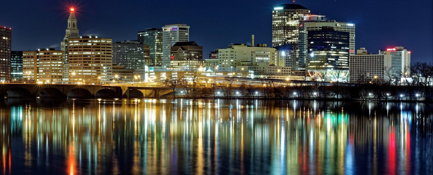 night time skyline of Hartford, Connecticut, from the Connecticut River