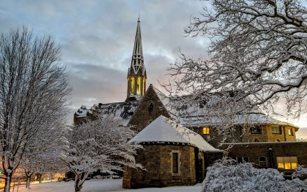 Second Congregational Church in winter, just around the corner from Stanton House Inn in downtown Greenwich