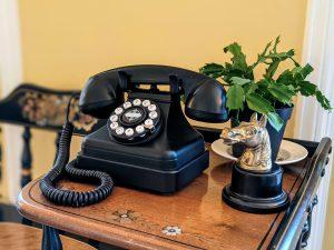 telephone in the living room of Stanton House Inn
