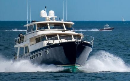 boat cruising at a high speed in Long Island Sound