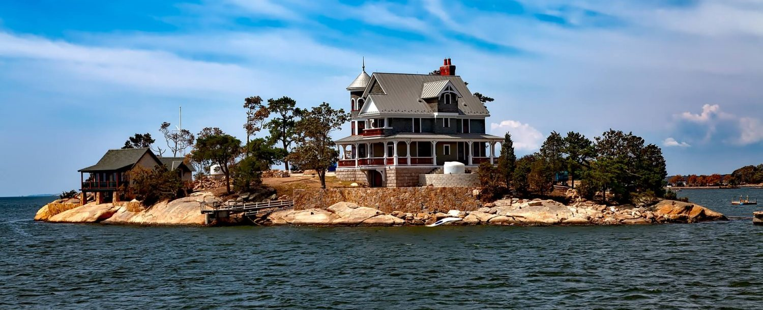A mansion on an island in the Thimble Islands chain of Connecticut